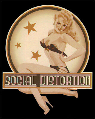 15648 Social Distortion Blonde Retro Pinup Bikini Star Punk Rock Sticker / Decal