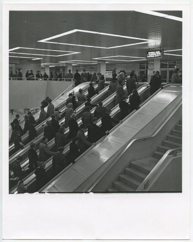 ESCALATORS IN BUSY SUBURBAN BUS PLATFORM VINT PHOTO REPRINT ONLY