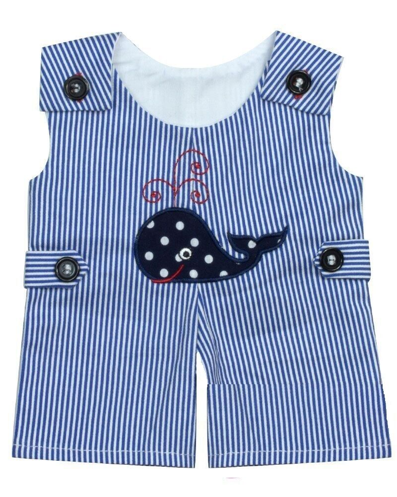 """Lovvbugg Whale Romper for Boy for 18"""" American Girl Doll Bitty Baby Clothes"""