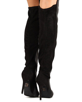 New Women Breckelles Pamela-13 Mix Media Round Toe Stiletto Heel Thigh High Boot
