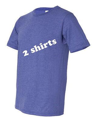 2 pack Anvil Tee Shirt 50/50 Organic Cotton Men's Short-Sleeve Crew Neck Hth Blu