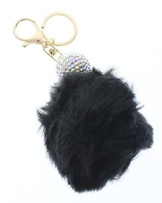 Disco Ball Keychains (Disco Ball with Black Faux Fur Pom Pom Rhinestone bling Key Chain Fob Phone)