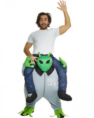 Piggyback Alien Adult Costume Ride-On Area 51 Halloween Men Women Mascot