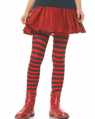 Black And Red Vibrant Striped Girls Tights Size L - Girls Black And Red Striped Tights