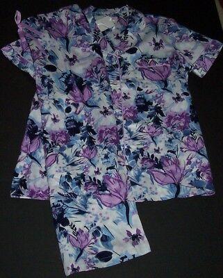 NWT Cabernet White/Blue/Purple Floral COTTON SATEEN Pajama Set XL Cloud Dancer](Cotton Sateen Pajamas)