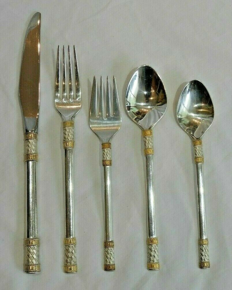 Aegean Wave Gold By Wallace Sterling Flatware Set For 12 With Serving Pieces - $2,396.00