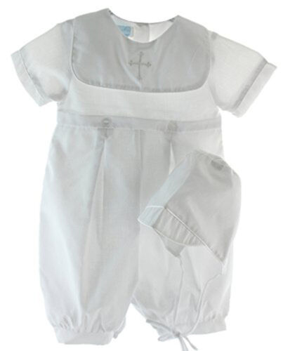 Boys White Christening Romper Embroidered Cross with Hat Infant NWT Petit Ami