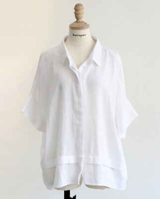 [Bonispax]  Women Loose Casual Rayon Blouse White , K-Fashion,Designed in Korea