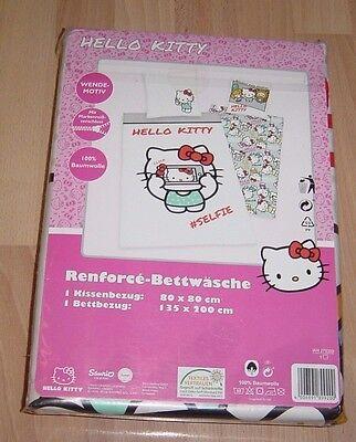 Hello Kitty Renforcé Bettwäsche Garnitur,Kinder,135x200cm,Motiv II,NEU