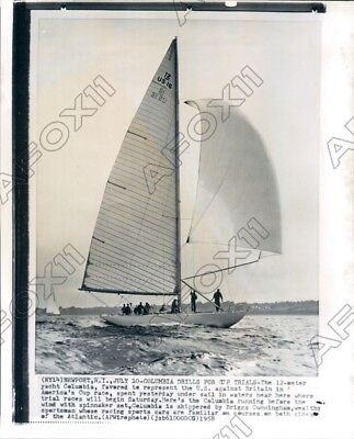 1958 Sailing Yacht Columbia Drills for Cup Trials  Press Photo