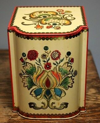 Vintage Floral Metal Tin Box Container w/ Hinged Lid England Floral shabby chic