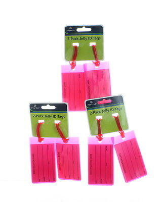 Lot of 6 Hot Pink Jelly ID Luggage Tags Travel Smart