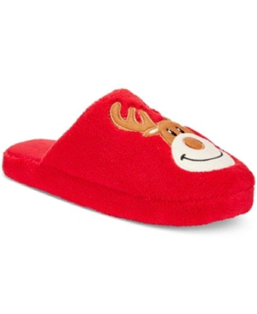 Family Pajamas Men's Christmas Holiday Reindeer Slippers, Red