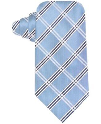 John Ashford Traditional Pat Grid Neck Tie, Washable, Microfiber Tipping, Blue - Grid Microfiber Tie
