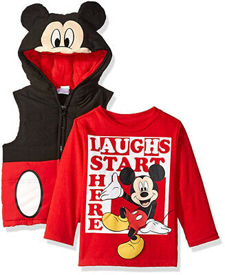 Mickey Mouse Boys Costume Puffer Vest & Top Set Size 12M 18M 24M 2T 3T 4T (Mickey Mouse Costume Boys)