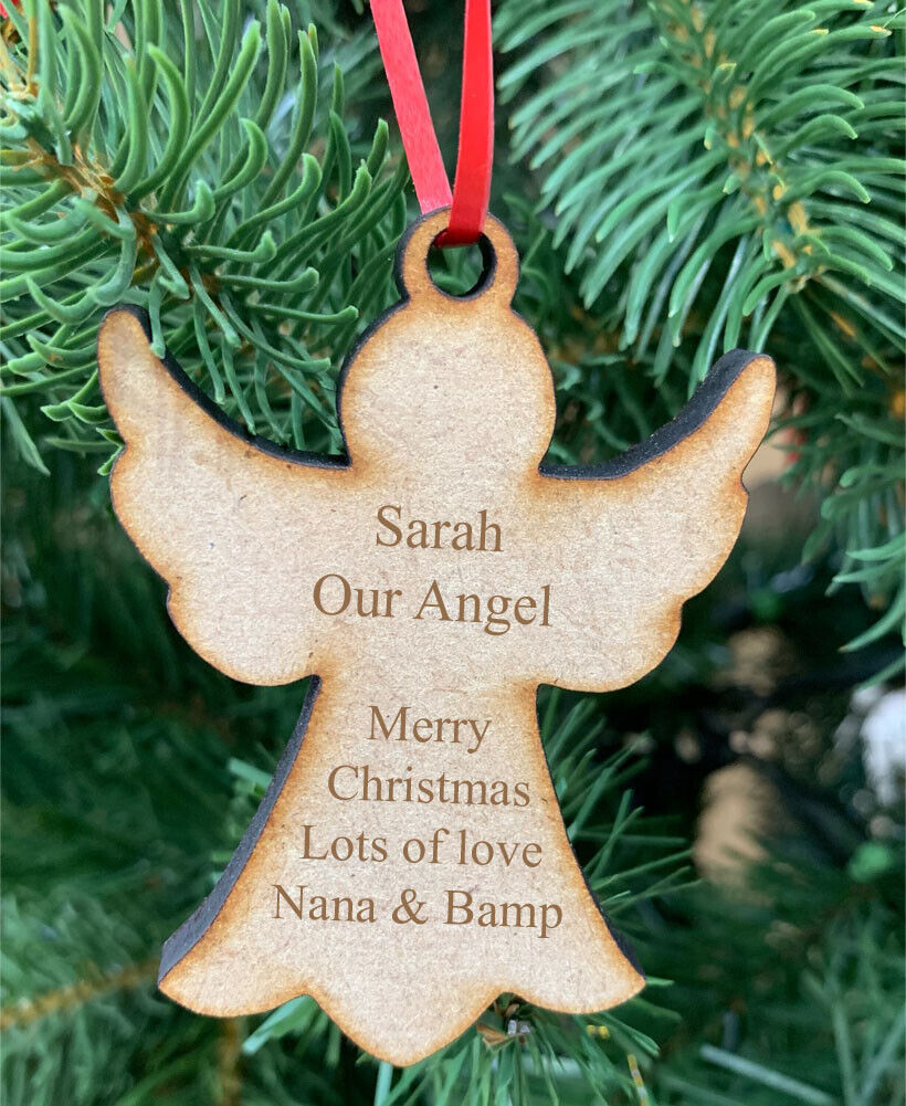 Personalised Christmas Tree Decorations Angel Silver Star Xmas Hanging Baubles