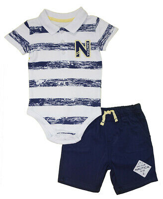 Nautica Infant Boys Striped Bodysuit 2pc Short Set Size 3/6M 6/9M 12M 18M 24M