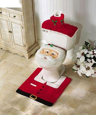 Christmas SALE Santa Decor Bathroom Set 3-pc Rug Toilet Seat Cover & Tank Cover ()