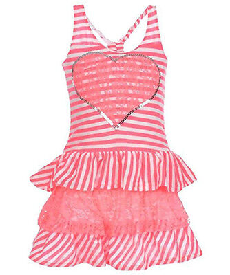 Kidzone Girls Toddler/Little Girls Pink Striped Dress Size 2T 3T 4T 4 5 6](Size 2t 3t)