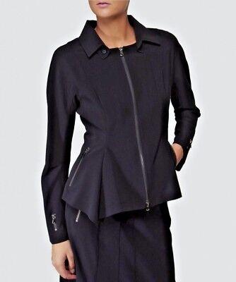 RRP £375, IVAN GRUNDAHL, 36 EU,10-12 UK, Black Asymmetric Jacket SMART ARTY BOHO
