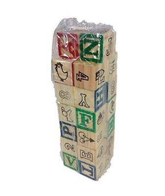 "26 SOLID WOODEN ALPHABET BLOCKS SET LETTERS NUMBERS & PICTURES ABC 1 1/4"" Wood"