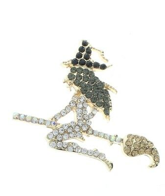 Halloween Witch on a Broom Rhinestone Pin with Gold Tones Brooch Broach - Halloween Witch On A Broom