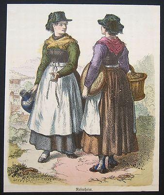Orig. Holzstich 1880, koloriert: Trachten ROSENHEIM, Bayern