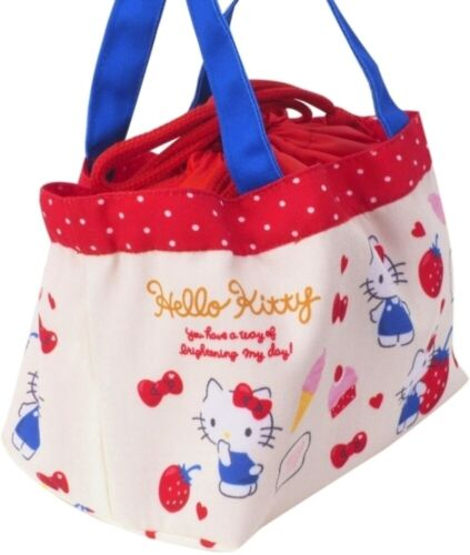 Hello Kitty Drawstring Tote Bag Storage Pouch Lunch Box Bento Snack Food Purse
