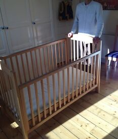 Solid beech wood large Cot / toddler bed with drop side / removable side. With mattress