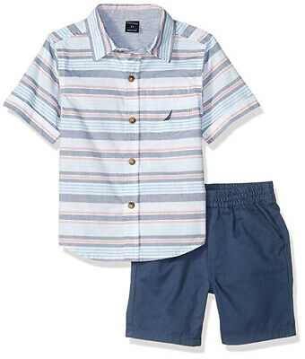 Nautica Toddler Boys Striped Shirt 2pc Short Set Size 2T 3T 4T $59.50