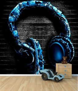 Cool headphones wallpaper mural teenagers bedroom feature for Cool mural wallpaper
