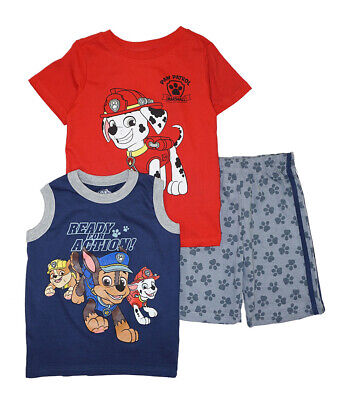 Paw Patrol Boys Red & Multi 3pc Short Set Size 2T 3T 4T 4 5 6 7](Red Paw)