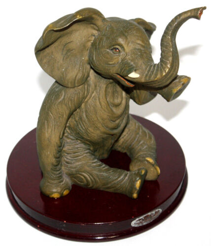 """Rubys Collection Crying Baby African Elephant Statue Figurine Resin 7.5"""" Tall"""