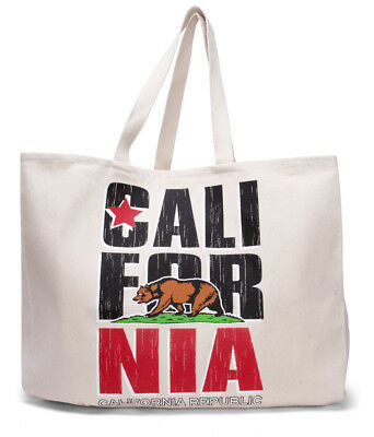 California Republic Flag Natural Tote Bag - California Tote Bag