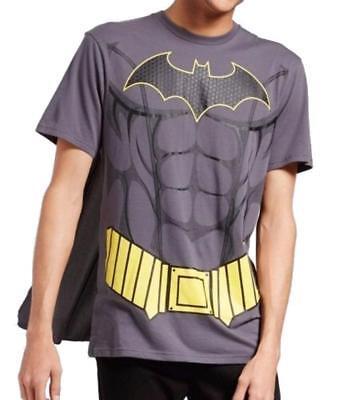 Batman Muscle Shirt (Men's DC Comics Batman Muscle Costume T Shirt With Detachable Cape Grey)