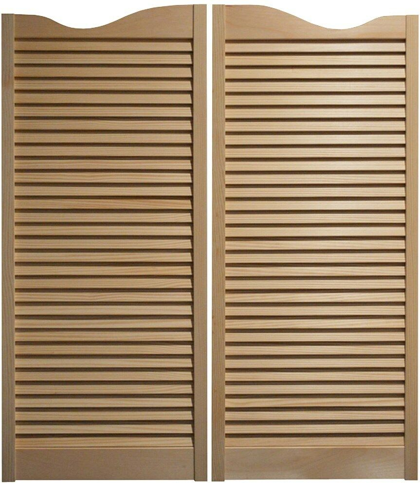 """CAFE DOOR Pine Louvered Swinging Bar Saloon Western Pub 36/""""W x 42/""""T with hinges"""
