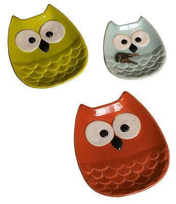 Set of Three, Decorative, Ceramic OWL Plates