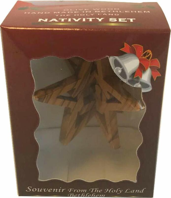 Holy Land Market Olive Wood Star Nativity Ornament with Gift Box