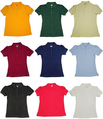 French Toast School Uniform Girls Short Sleeve Stretch Pique Polo (Sizes 4-20)