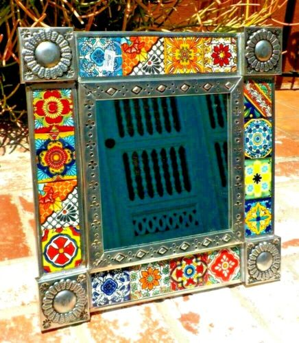 TALAVERA  RED TILE & PUNCHED TIN FRAME MIRROR 12 IN X 12 IN MADE IN MEXICO