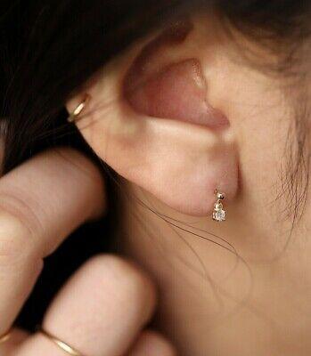 Dainty Diamond Dangle Earrings, 14K Solid Gold Beads Diamond Charm Earring