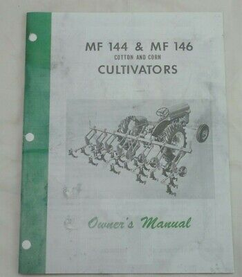 Massey Ferguson Mf No. 144 146 Corn Cultivators Owners Manual 3pt Hitch 4 6 Row