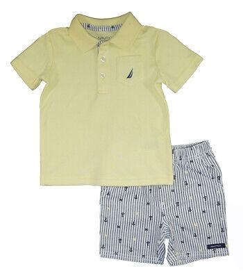 Nautica Infant Boys Yellow Polo 2pc Short Set Size 12M 18M 24M $50