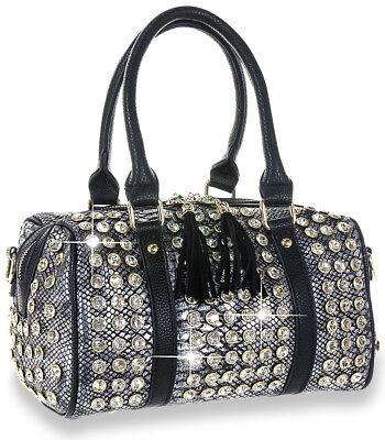 Petite Studded Satchel Handbag Black