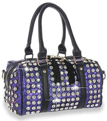Petite Studded Satchel Handbag Purple