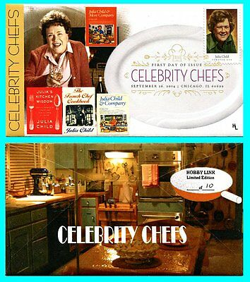 CELEBRITY CHEFS JULIA CHILD FIRST DAY COVER WITH COLOR CANCEL