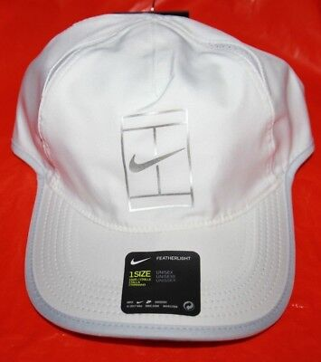 67ac6f3814881 NIKE Dri-Fit AeroBill Featherlight Tennis Court Swoosh Cap White/Gray - One  Size
