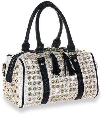Petite Studded Satchel Handbag Gold Silver