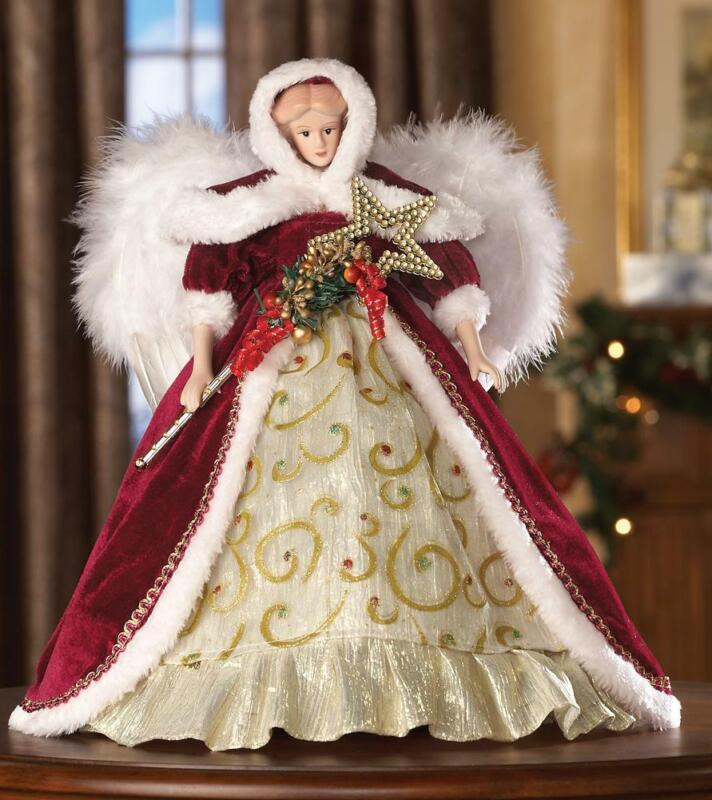 """Heritage Winter Angel Porcelain Doll with Feathered Wings Collectible 14"""" H"""