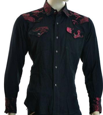 SHRINE GOTH GOTHIC RODEO TAPESTRY COWBOY STEAMPUNK WEDDING VICTORIAN SHIRT Casual Button-Down Shirts